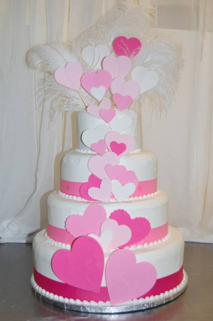 Valentines Day fondant hearts cut-out tier cake